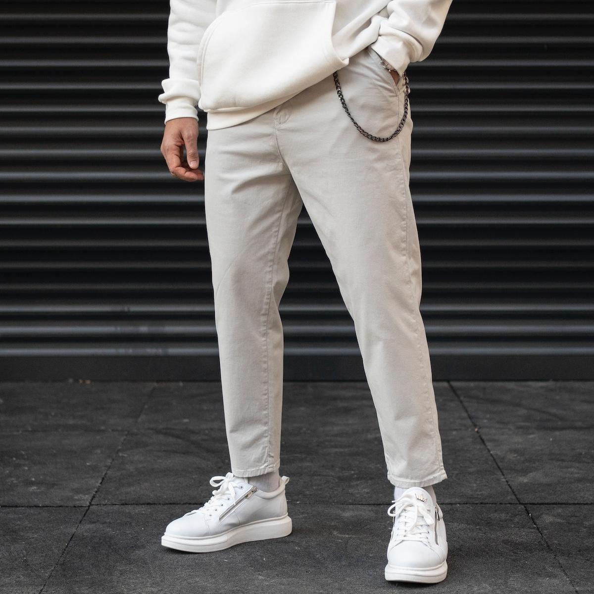 Erkek Oversize Boyfriend Zincir Detaylı Basic Açık Gri Kot Pantolon