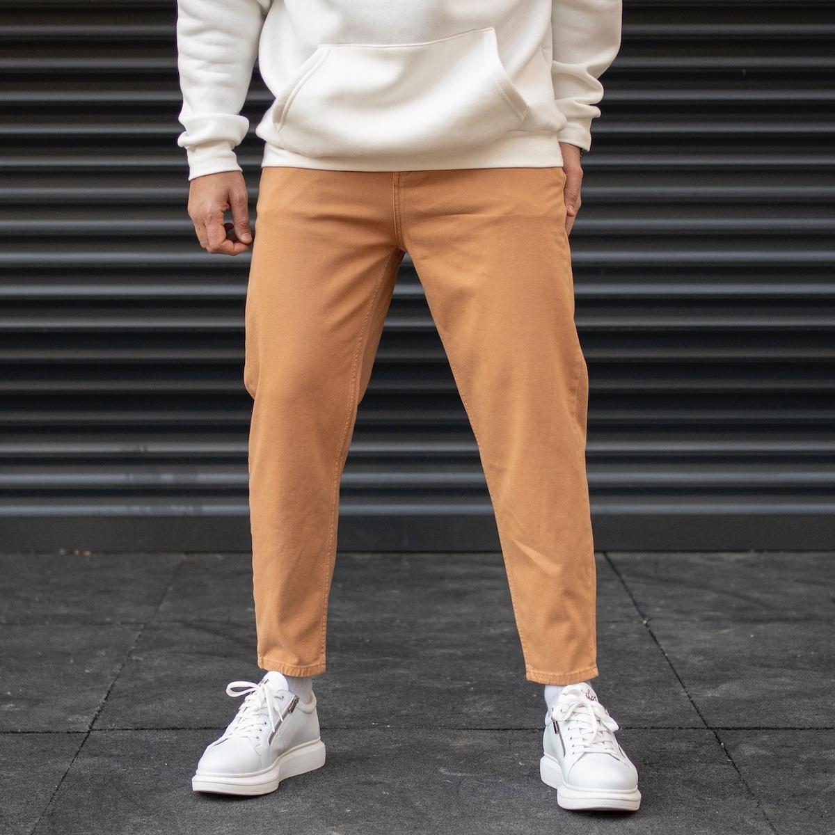 Erkek Oversize Boyfriend Basic Taba Kot Pantolon