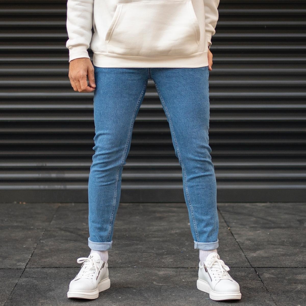 Erkek Slim Fit Dar Paça Mavi Kot Pantolon