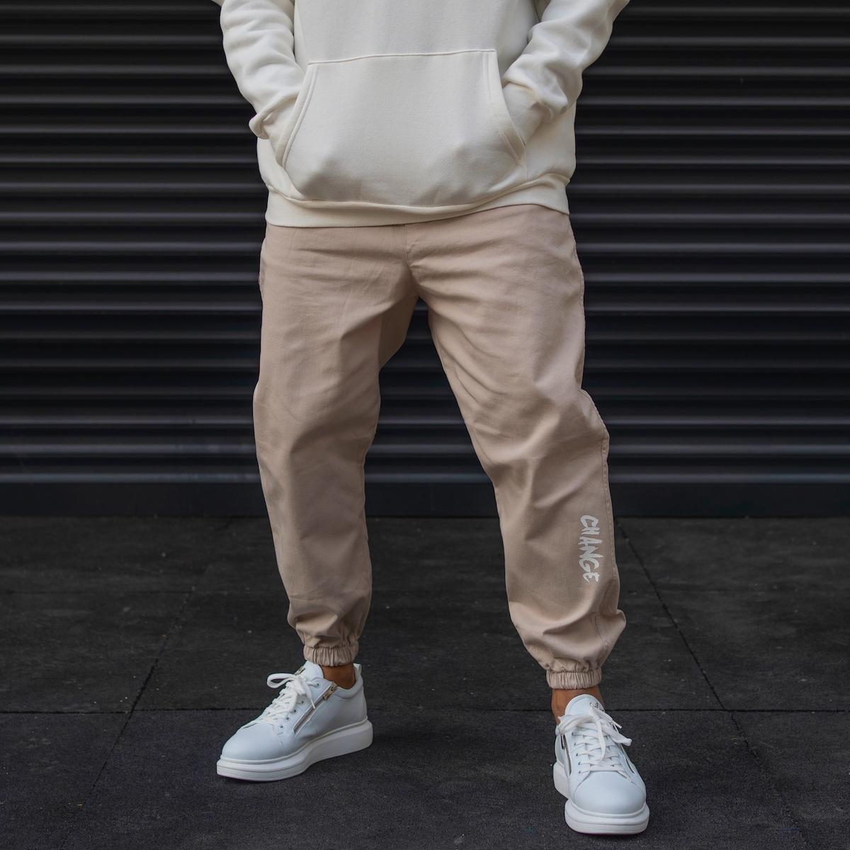 Erkek Lastik Paça Yazı Detaylı Bej Pantolon