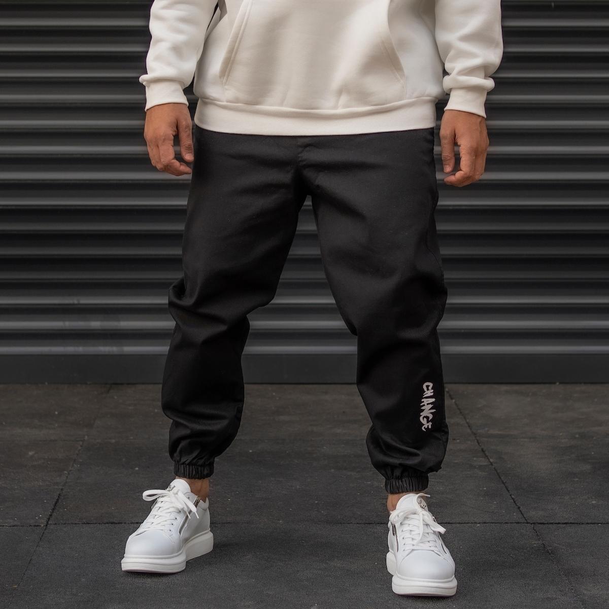 Erkek Lastik Paça Yazı Detaylı Siyah Pantolon