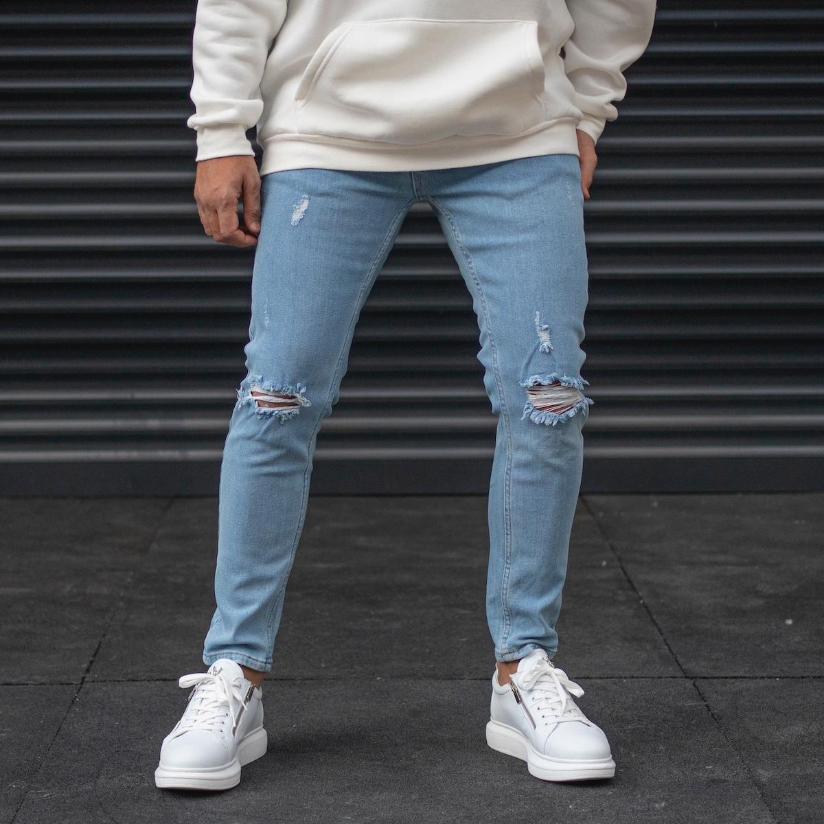 Erkek Dizi Yırtıklı Taşlamalı Kot Pantolon