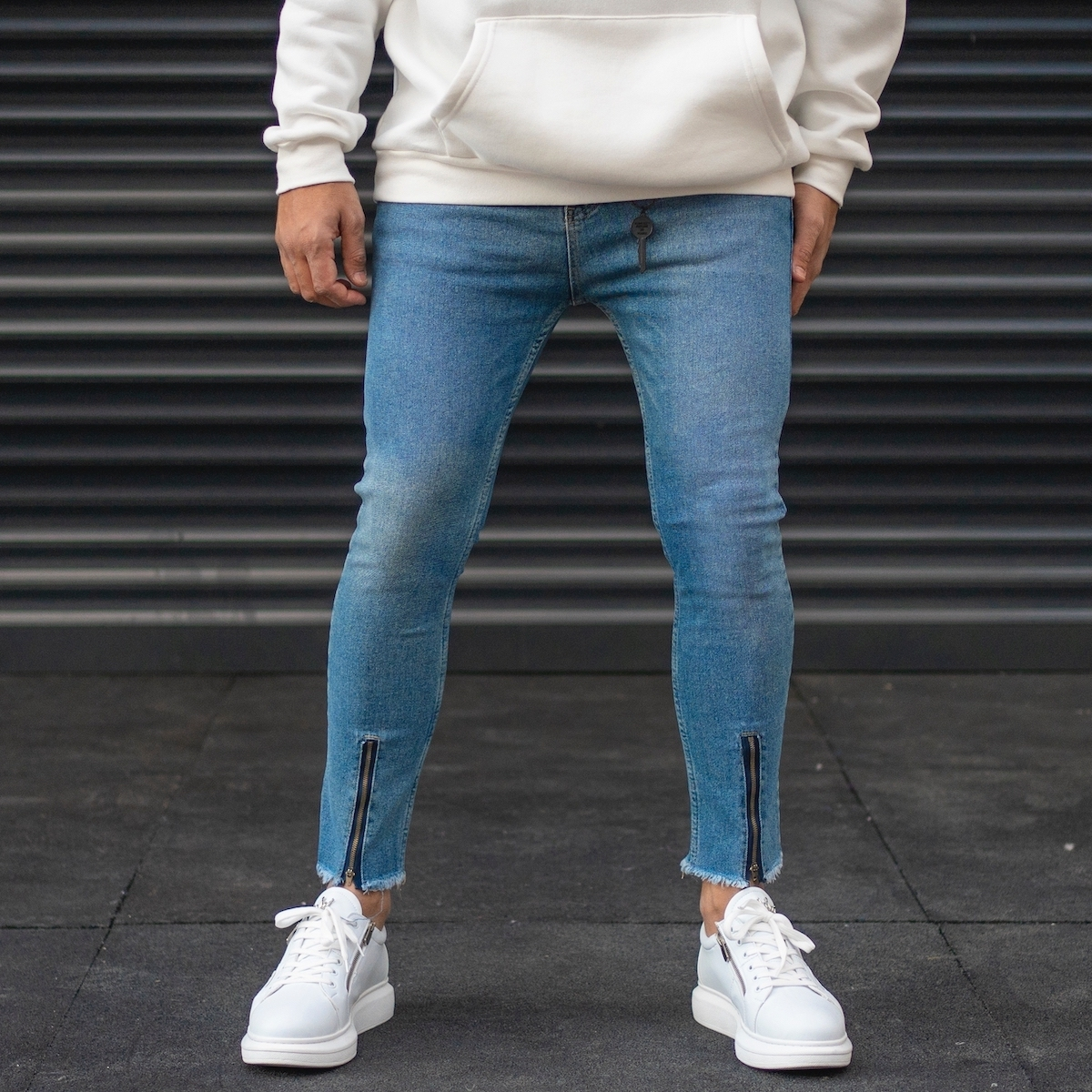 Erkek Paçası Fermuarlı Kot Pantolon