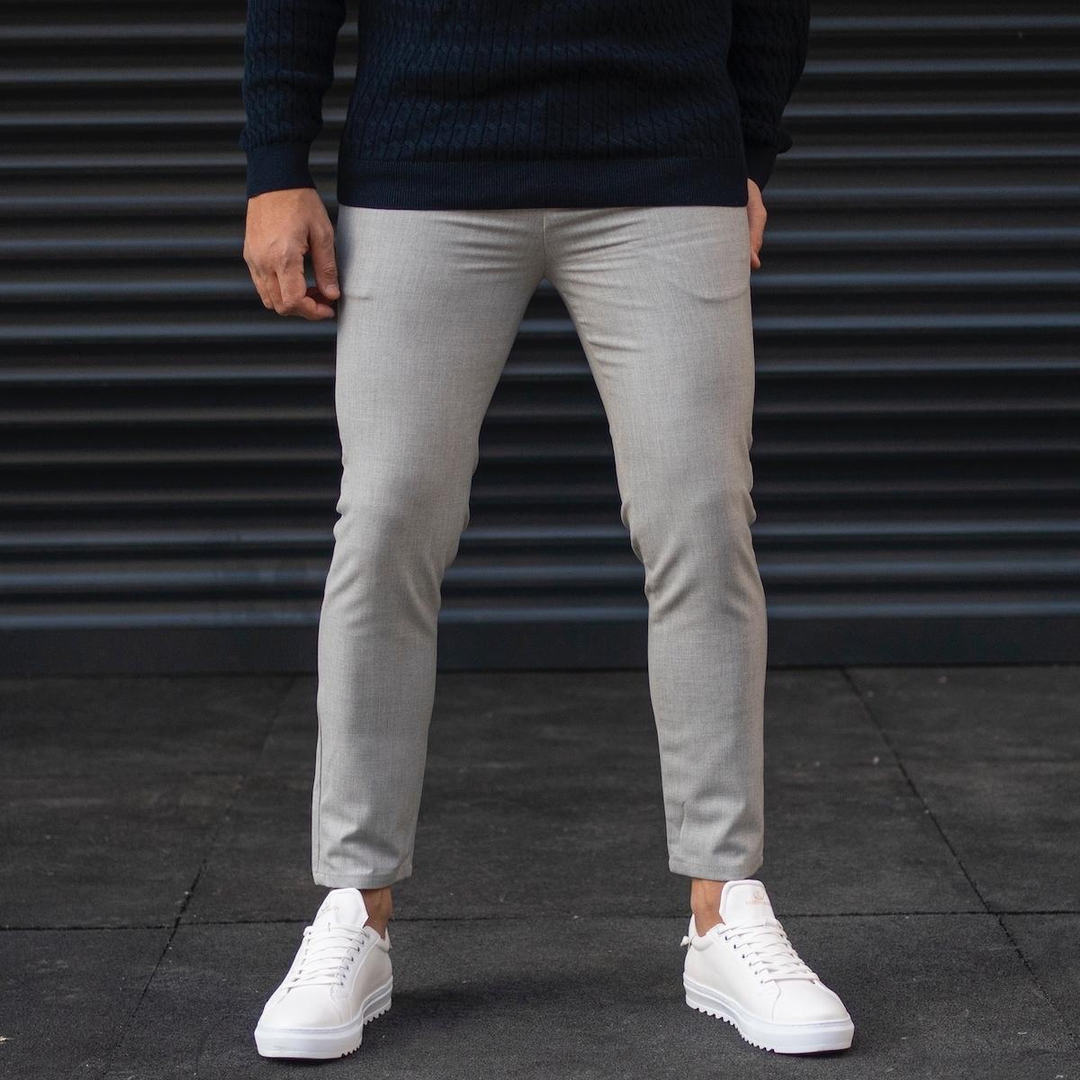 Erkek Düz Basic Gri Kumaş Pantolon