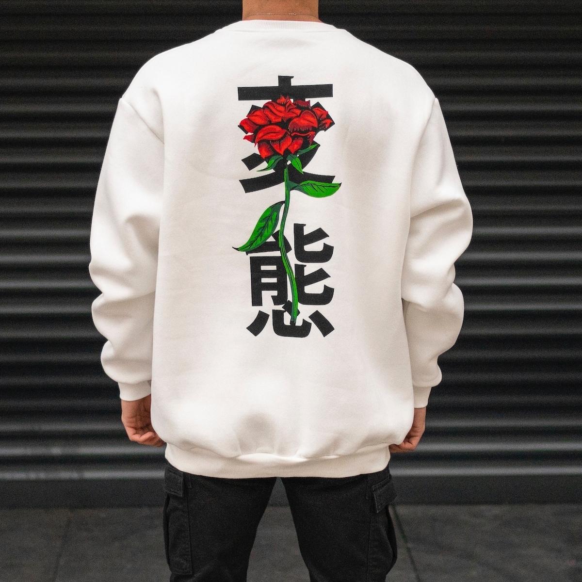 Erkek Rose Hiragana Baskılı Oversize Beyaz Sweatshirt