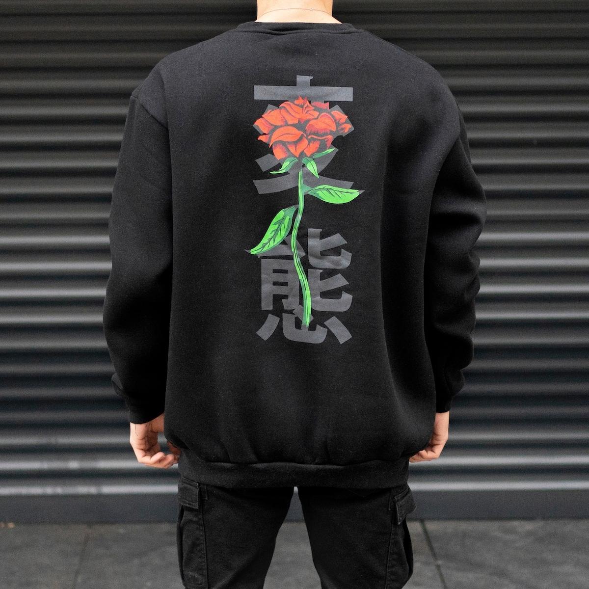 Erkek Rose Hiragana Baskılı Oversize Siyah Sweatshirt