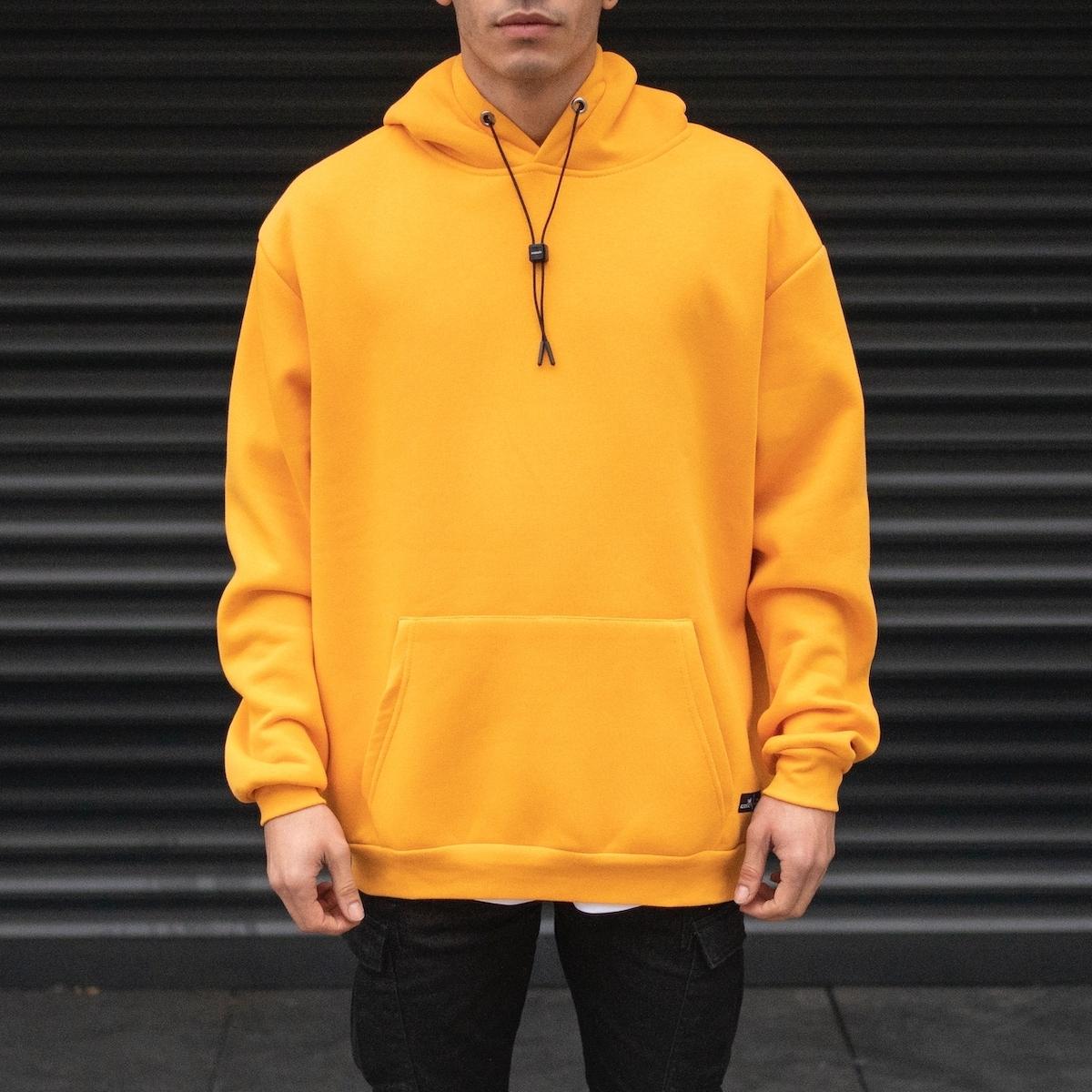 Erkek Oversize Basic Kanguru Cepli Sarı Hardal Rengi Hoodie Sweatshirt