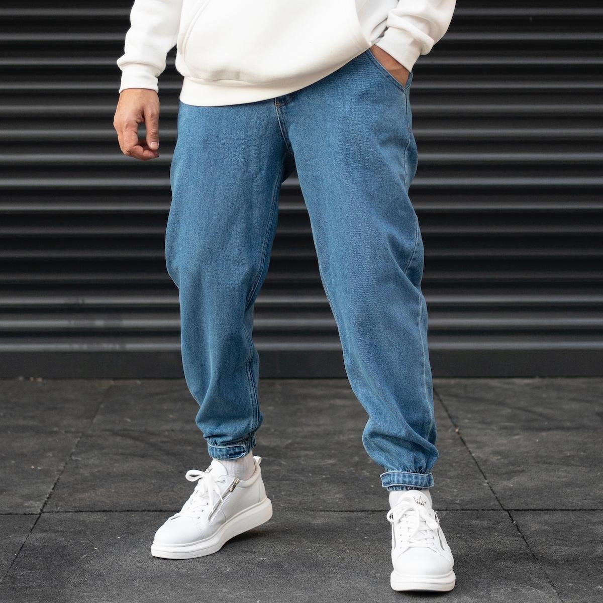 Erkek Oversize Boyfriend Paçası Cırt Cırtlı Jogger Kot Pantolon
