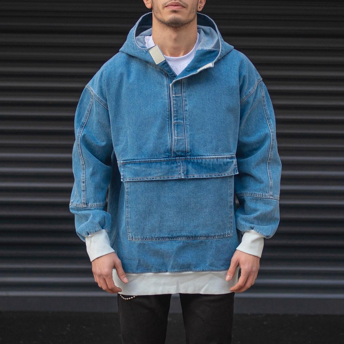 Erkek Culture Kanguru Cepli Sweat Jean Mavi Kot Ceket
