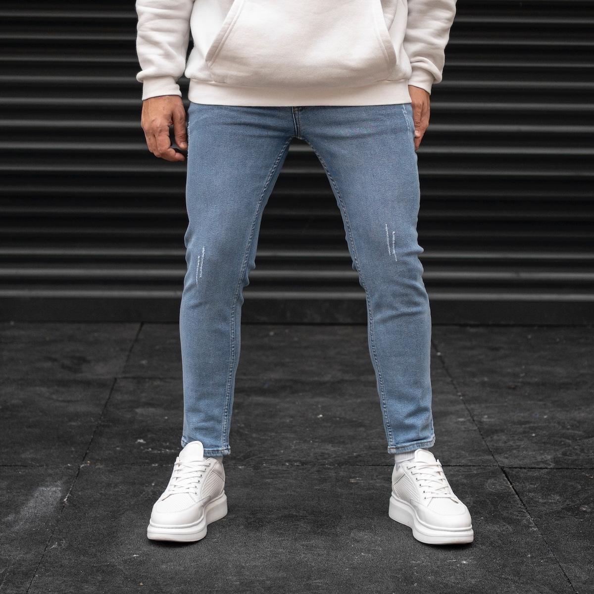 Erkek Taşlamalı Buz Mavisi Basic Kot Pantolon