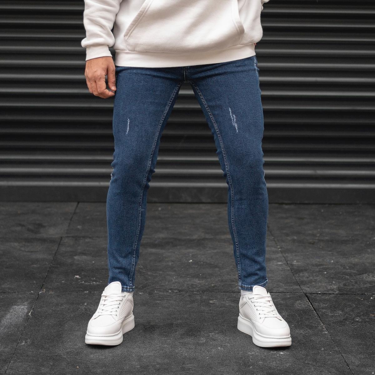 Erkek Taşlamalı Koyu Mavi Basic Kot Pantolon