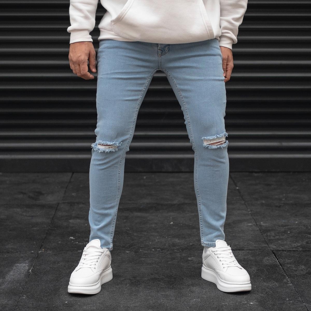 Erkek Dizi Yırtıklı Buz Mavisi Kot Pantolon
