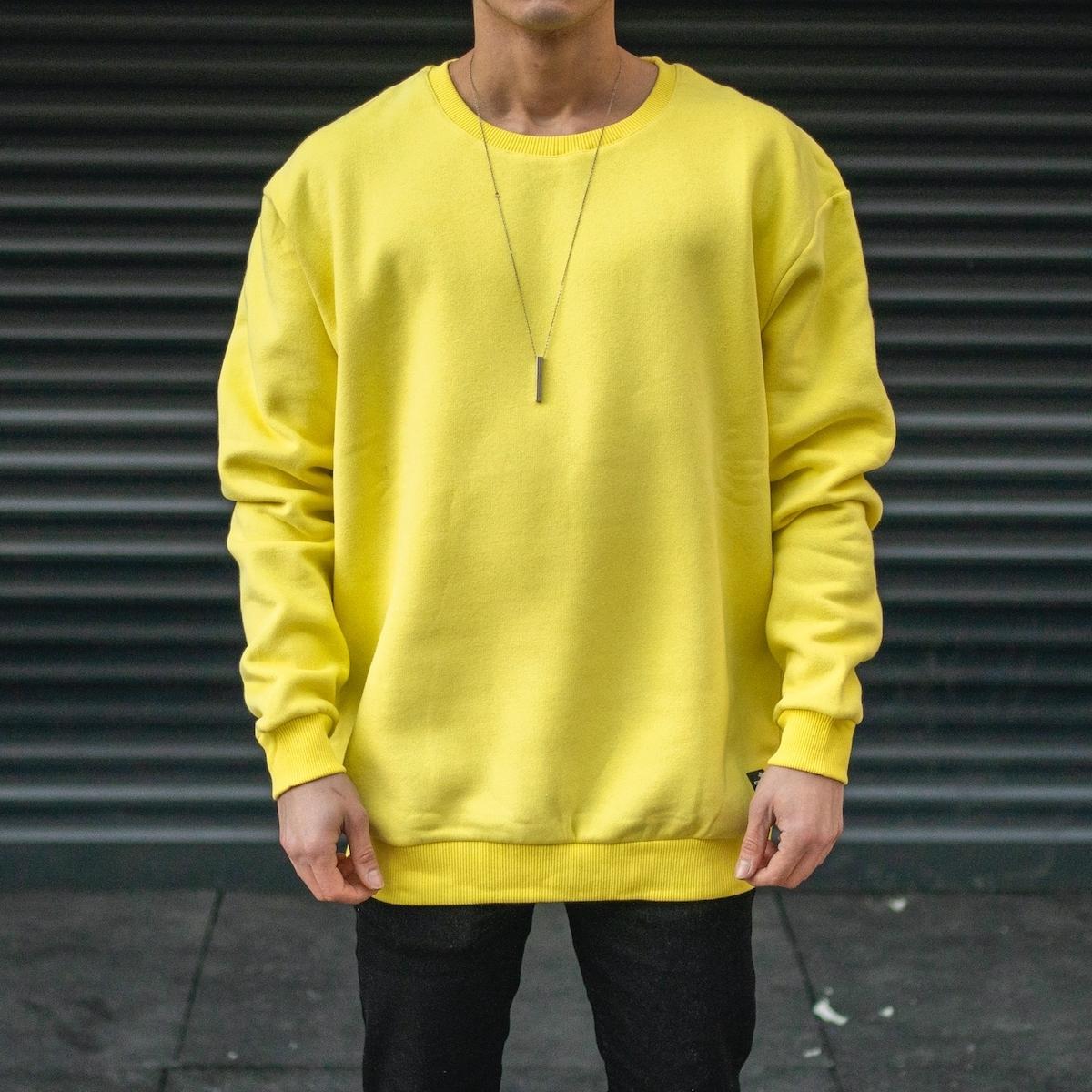 Erkek Basic Sarı OverSize Sweatshirt