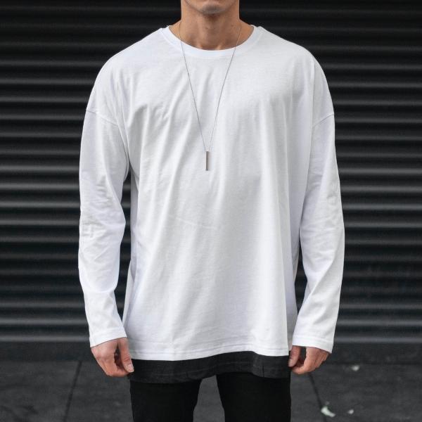 Erkek Basic Beyaz SweatShirt