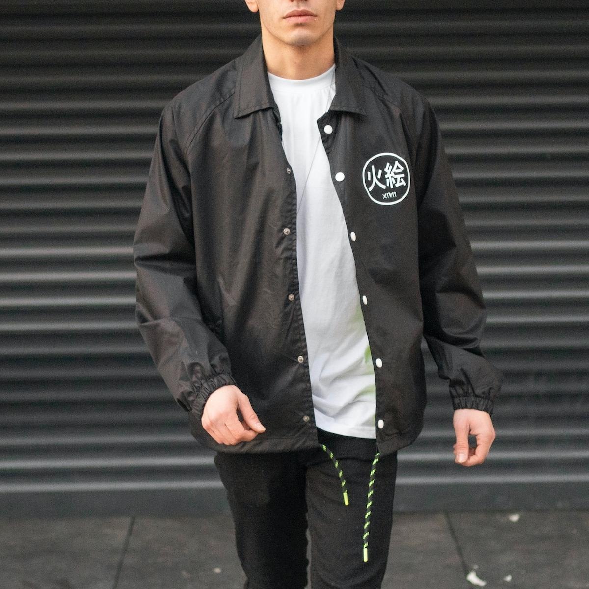 Erkek Siyah Rüzgar Geçirmez Ceket