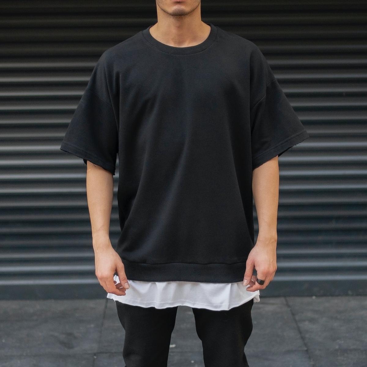 Erkek Oversize Basic T-Shirt Etek Detaylı Siyah