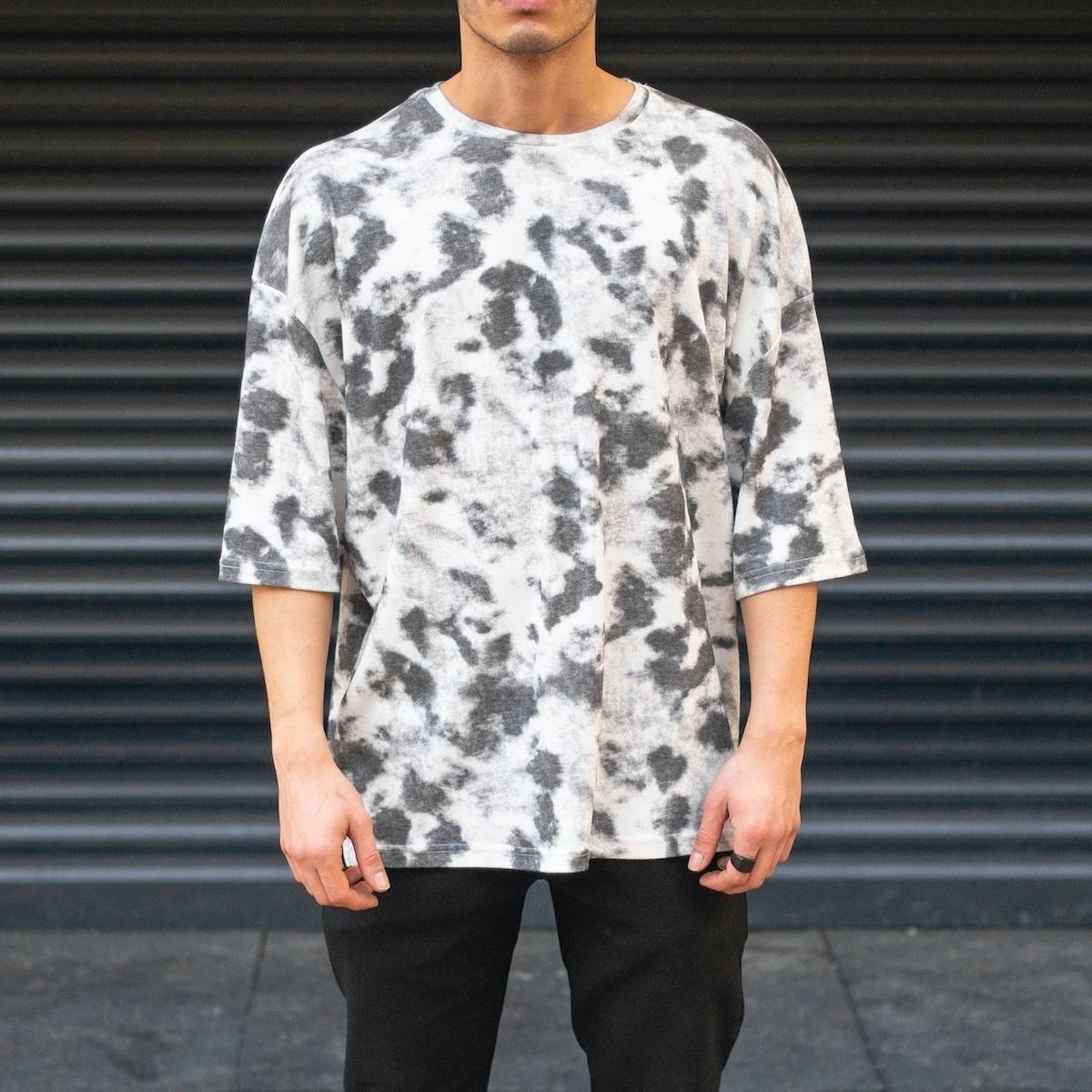 Erkek Yuvarlak Yaka Oversize T-Shirt Batik Desen Gri & Beyaz