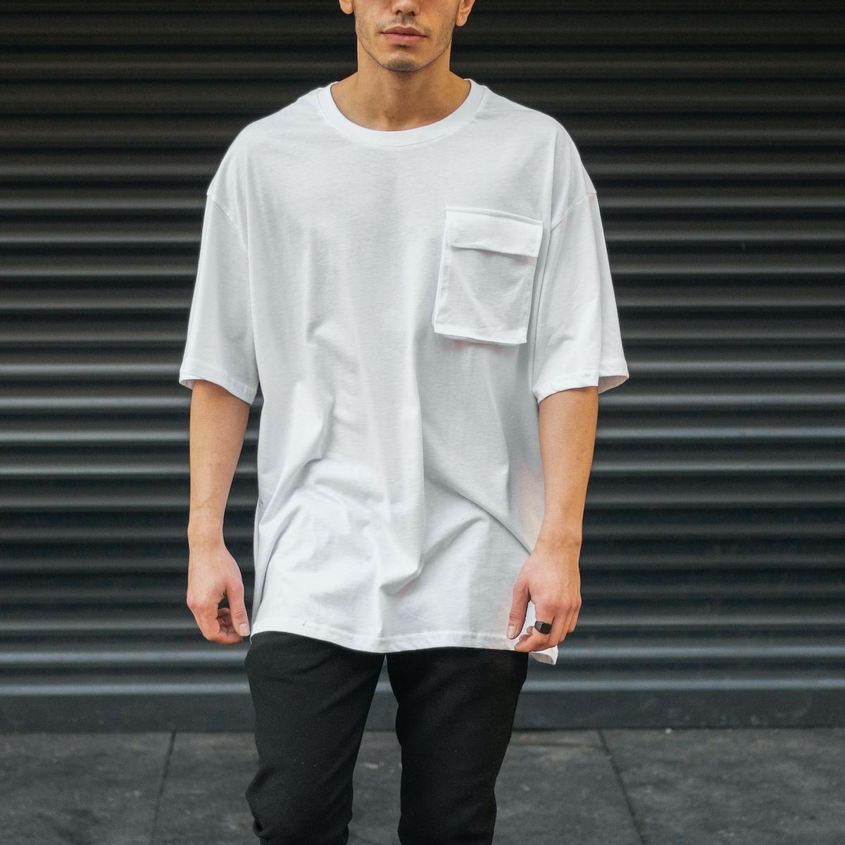 Erkek Yuvarlak Yaka Oversize T-Shirt Cep Detaylı Beyaz