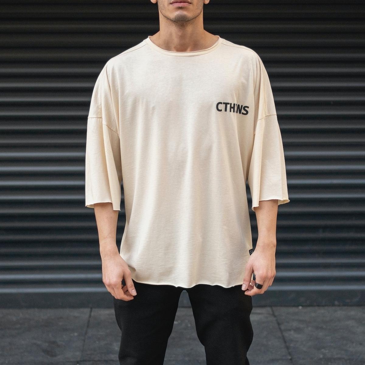 Erkek Kesik Yaka Oversize T-Shirt Yazı Baskılı Bej