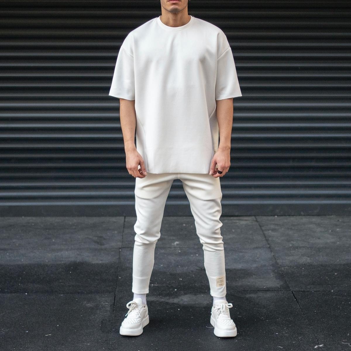 Erkek Dalgıç Kumaş Eşofman Takımı Beyaz