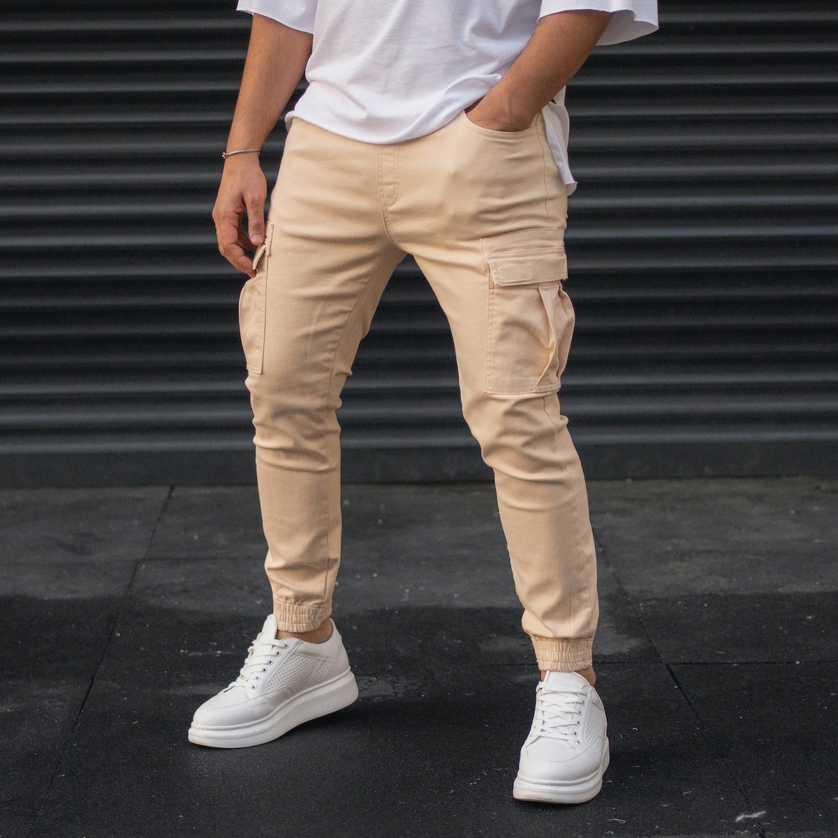 Erkek Bej Yan Cepli Kargo Kot Pantolon