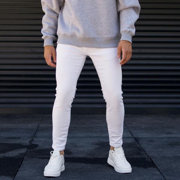 Erkek Beyaz Basıc Kot Pantolon