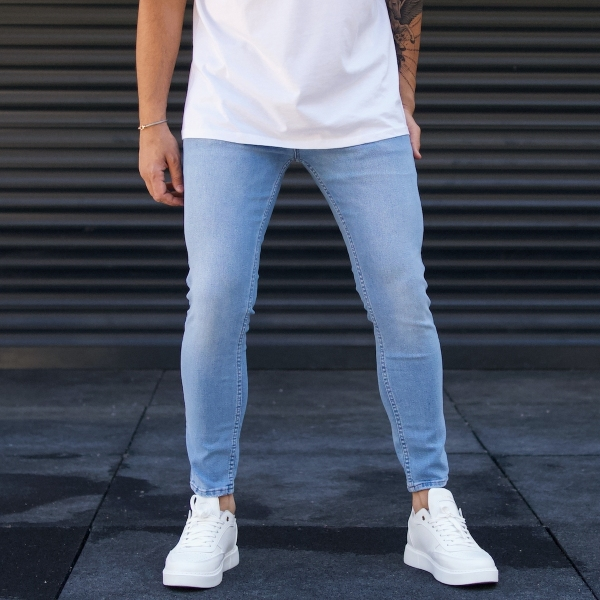 Erkek Buz Mavi Kot Pantolon