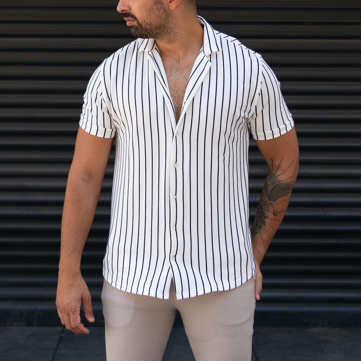 Erkek Likralı Çizgili Gömlek Beyaz