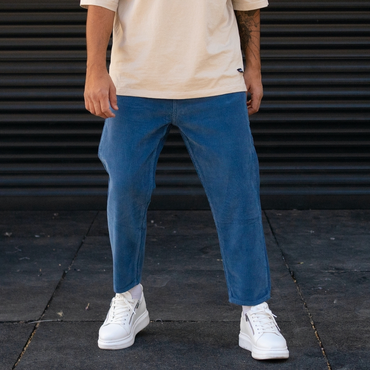 Erkek Boyfriend Kesim Kadife Mavi Pantolon
