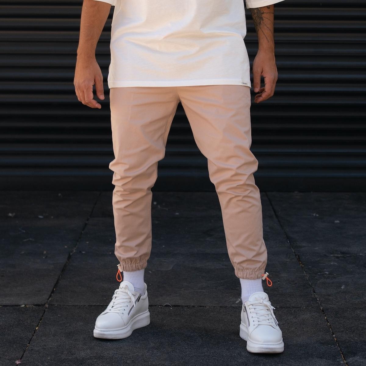 Erkek Paçası Lastikli Bej Pantolon