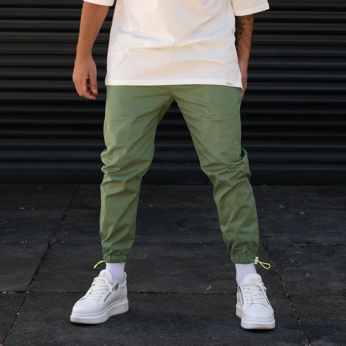 Erkek Paçası Lastikli Yeşil Pantolon