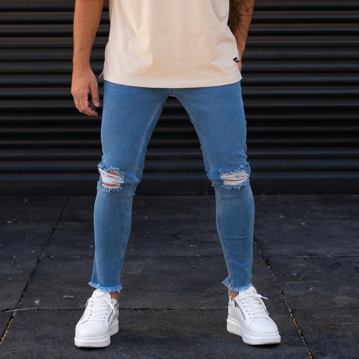 Erkek Dizi Yırtık Püskül Dar Paça Mavi Kot Pantolon