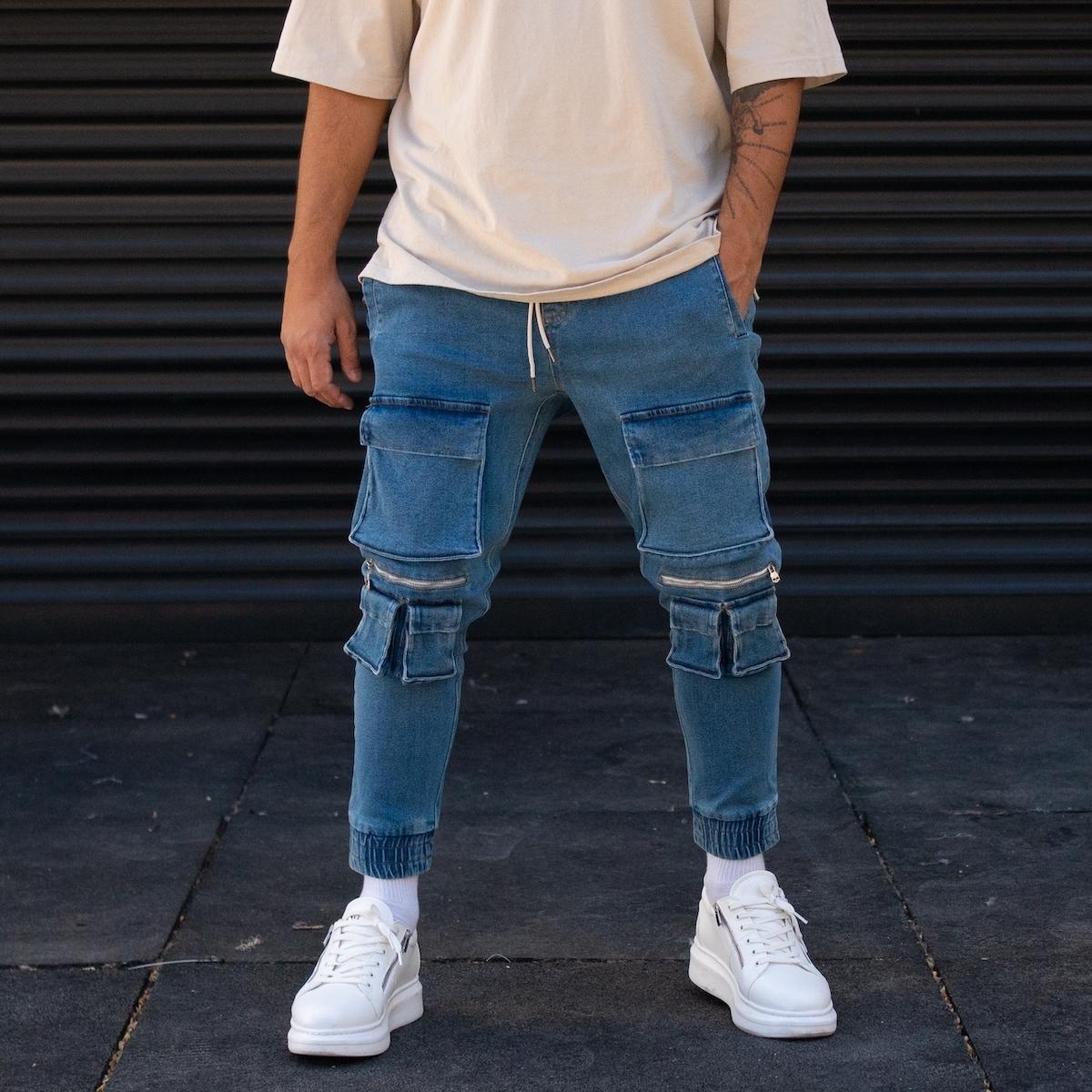 Erkek Çift Cep Detaylı Kargocu Kot Pantolon