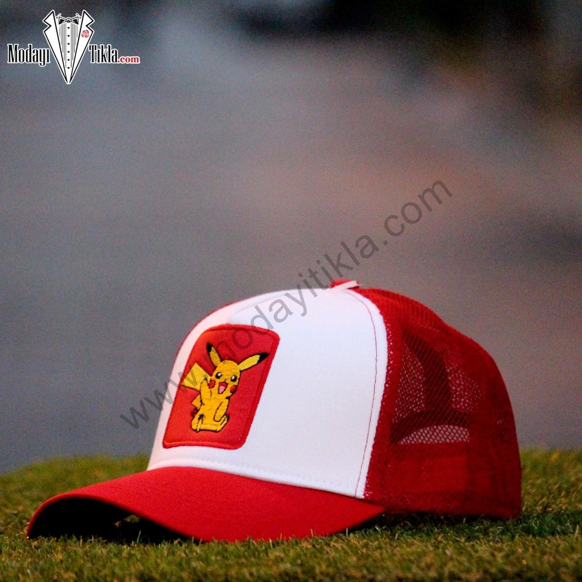 Erkek Spor Cap Şapka Pokemon Pikaçu Kırmızı