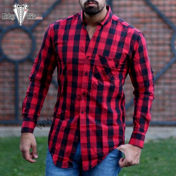 Erkek Kareli Gömlek Kırmızı...