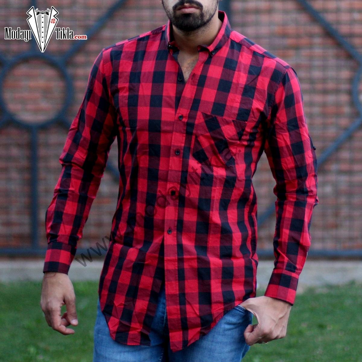 Erkek Kareli Gömlek Kırmızı Siyah
