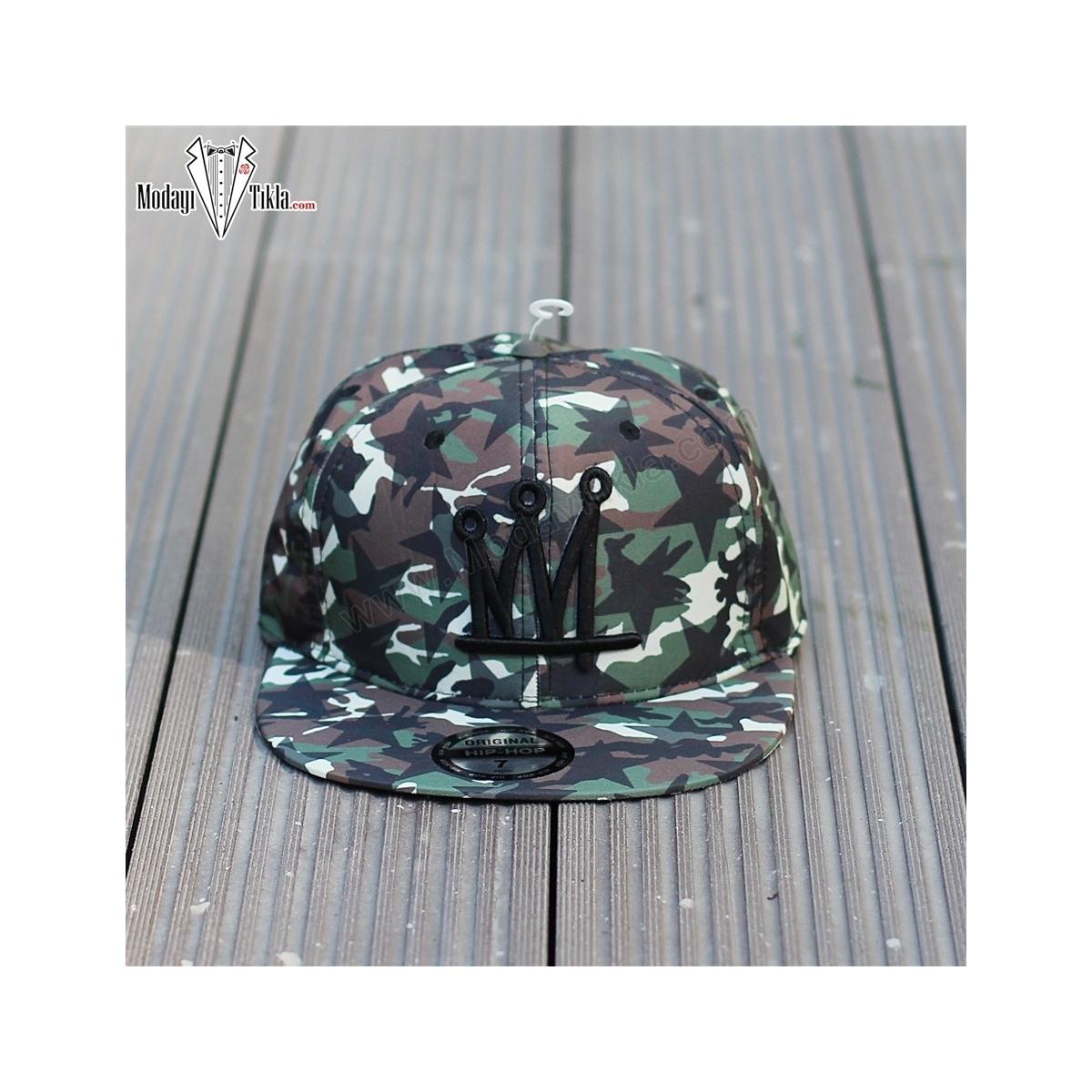 Erkek Kamuflaj Desenli Kep Şapka