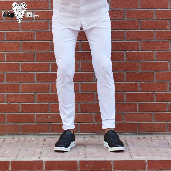 Erkek Keten Beyaz Pantolon