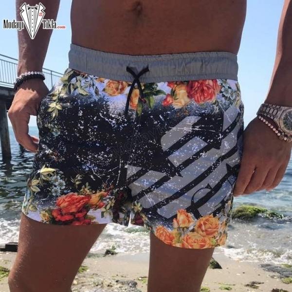 Erkek Gri Flower Deniz Şortu