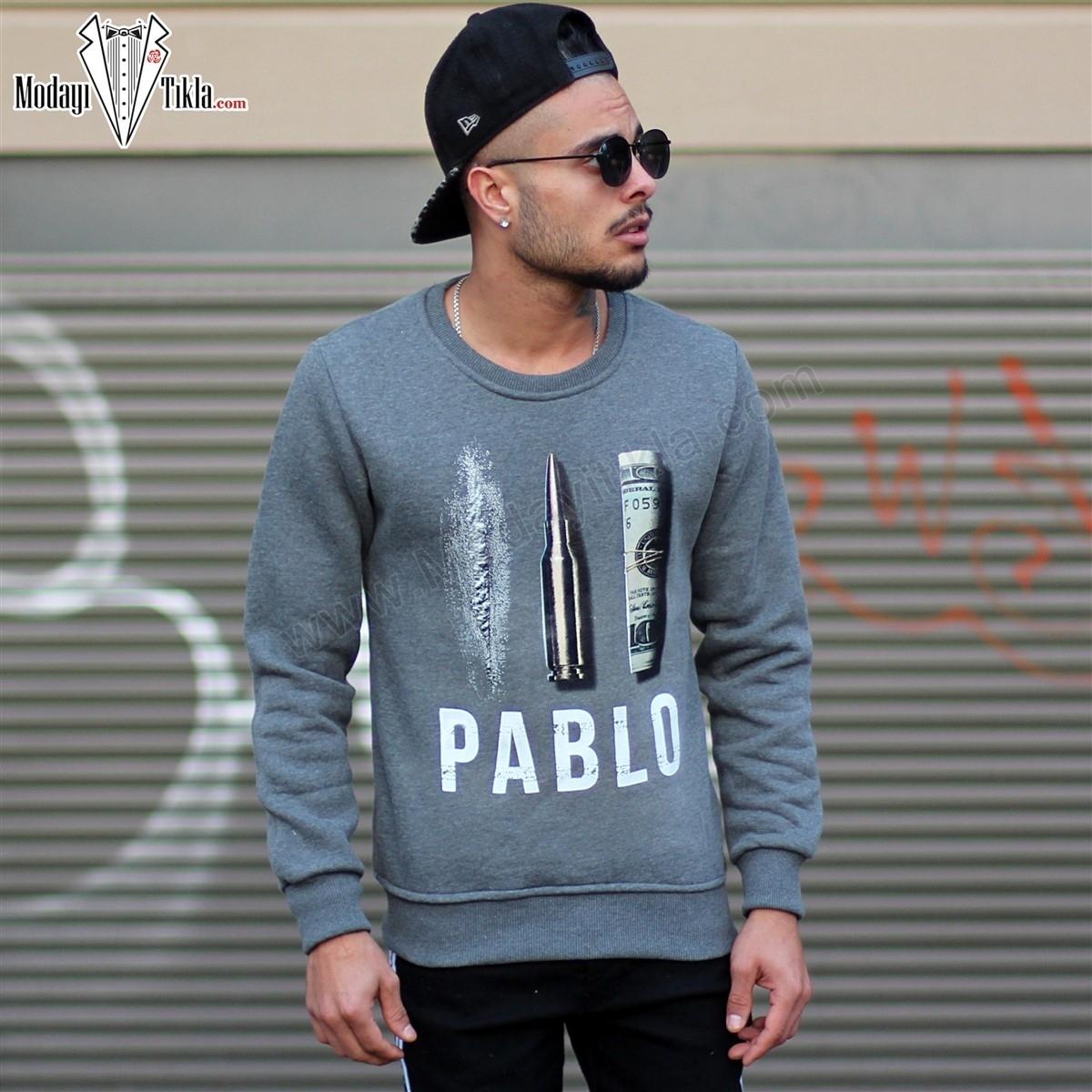 Erkek Özel Tasarım Füme Sweatshirt
