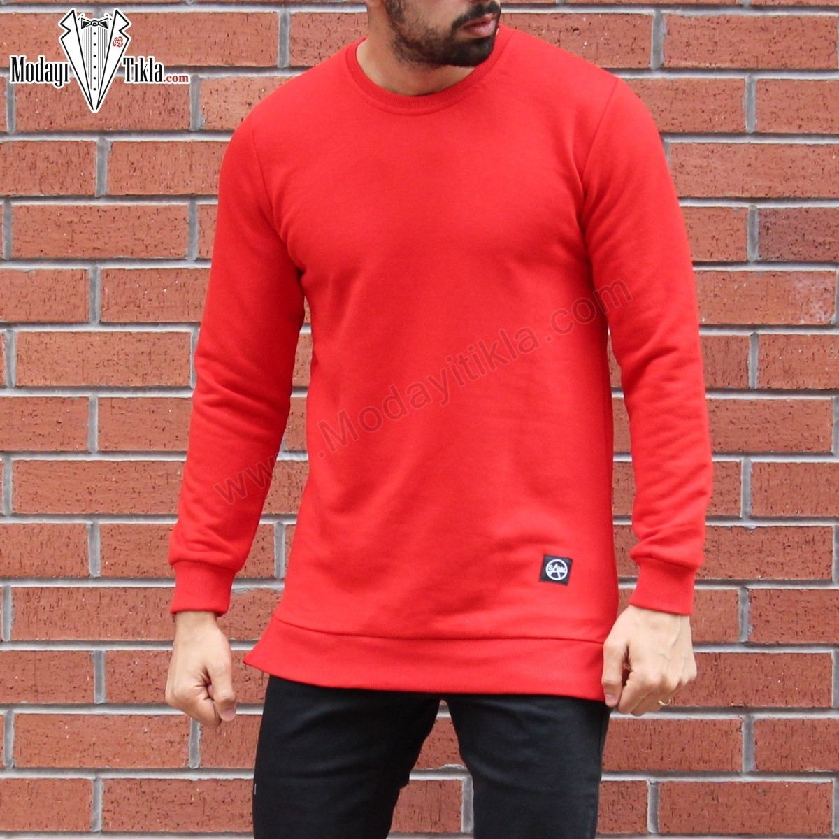 Erkek Kırmızı Long Sweatshirt