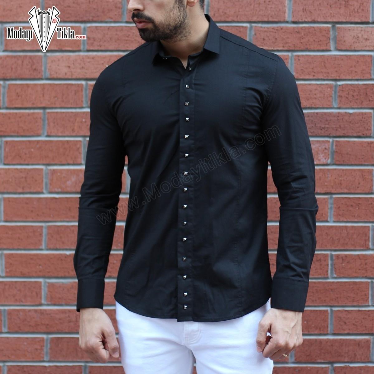 Erkek Metal Çakımlı Siyah Gömlek