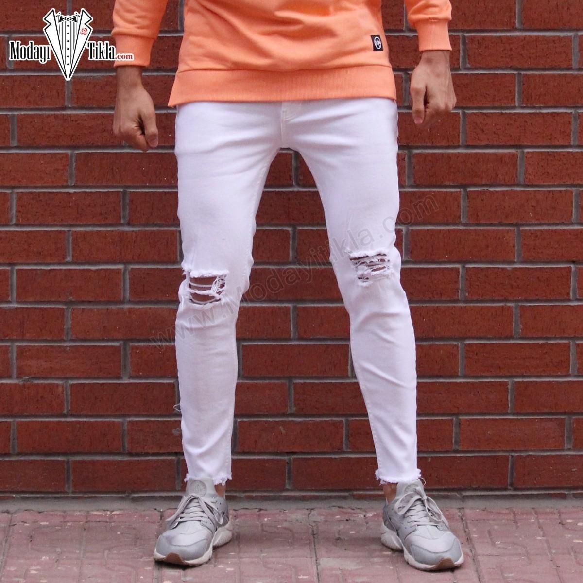 Erkek Dizleri Yırtık Kesik Paça Beyaz Jean