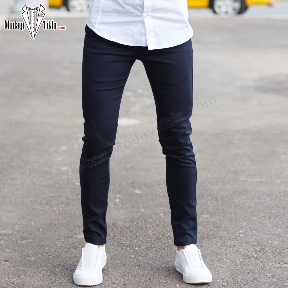 Lacivert Slim Fit Likralı Erkek Kumaş Pantolon