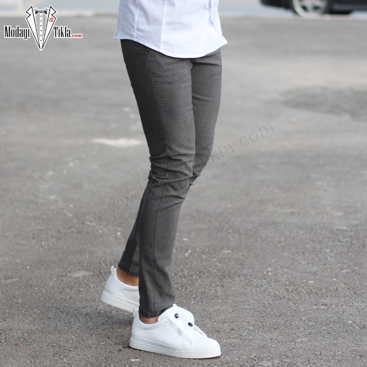 Füme Slim Fit Likralı Erkek Kumaş Pantolon