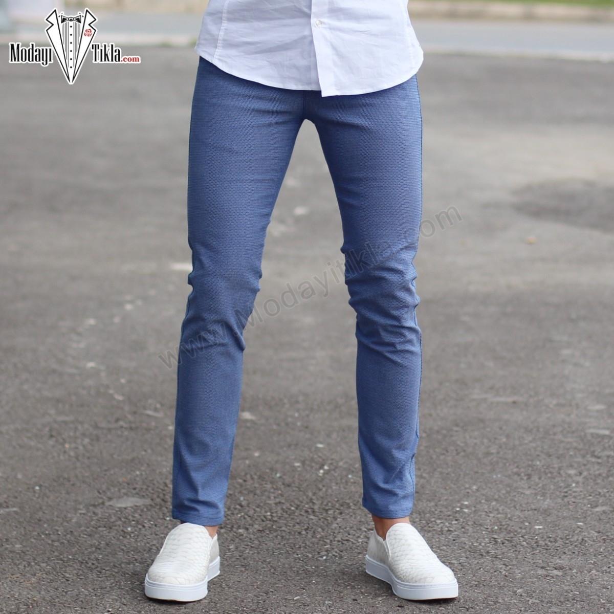 Mavi Slim Fit Likralı Erkek Kumaş Pantolon
