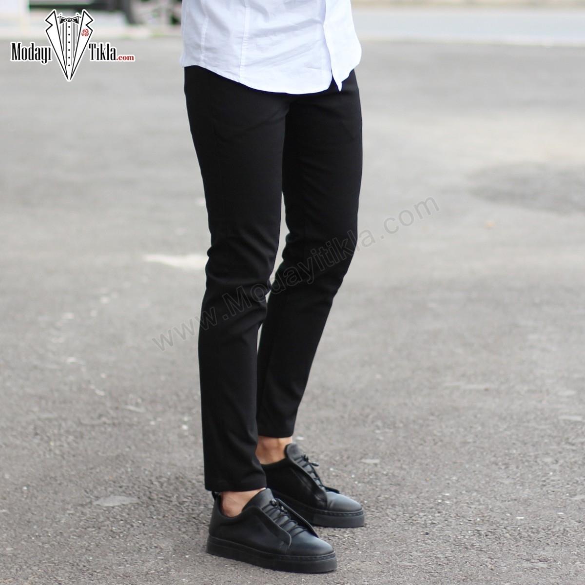 Siyah Slim Fit Likralı Erkek Kumaş Pantolon