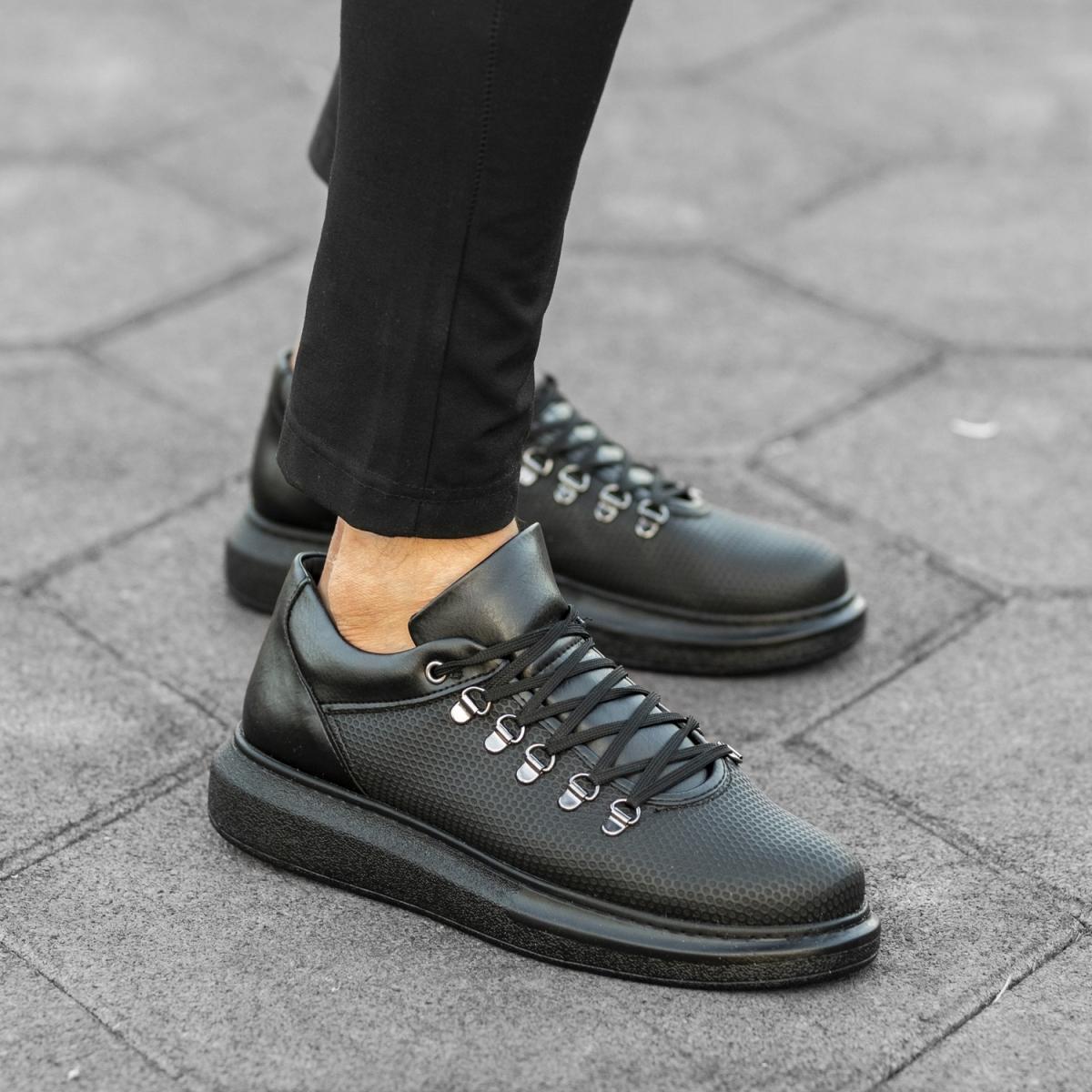 Italian Sport Siyah Yüksek Taban Erkek Ayakkabı