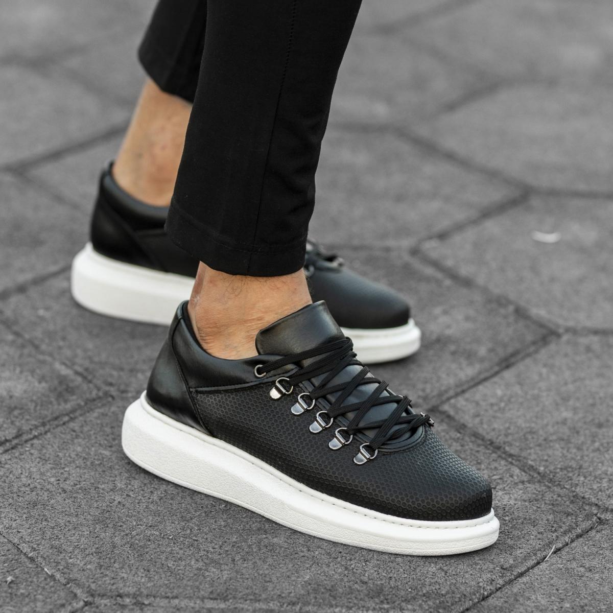 Italian Sport Siyah Beyaz Yüksek Taban Erkek Ayakkabı