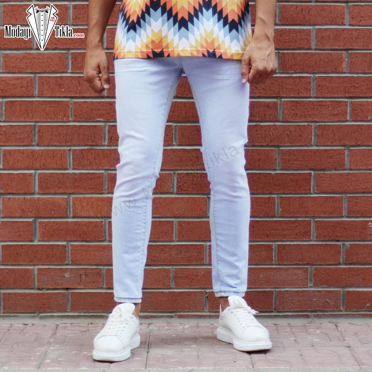 Erkek Buz Mavisi Likralı Slim Fit Pantolon